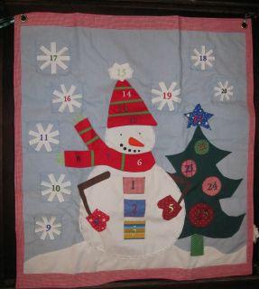 Barn Christmas Advent Calendar Snowman Wall Decor with Pockets RETIRED