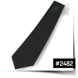 Jacquard Woven Silk Black Deepwater Blue Logo Solid Mens Necktie Neck