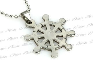 Mens Stainless Steel Buddhist Dharma Wheel Pendant Ball Chain Necklace