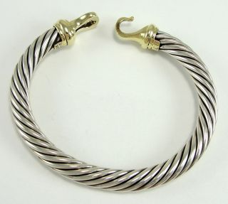 Authentic David Yurman Sterling 14K Gold Bangle Bracelet Twisted Wire