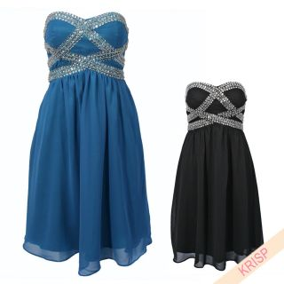 Diamante Jewel Embellished Dress Boobtube Draped Chiffon Party Evening