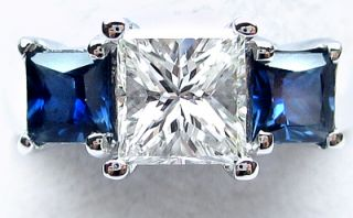 90 Ct Diamond and Sapphire Three Stone Ring Platinum