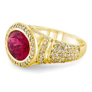 6ct Pink Tourmaline Diamond Anniversary Ring 14k Gold Y