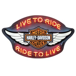 HARLEY DAVIDSON Winged Bar & Shield Live to Ride Neon Sign Art HDL