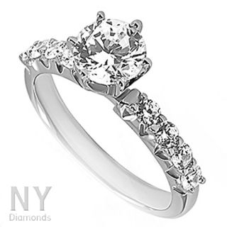 14K WHITE GOLD GOLD ROUND CUT DIAMOND ENGAGEMENT RING 0.42 CT