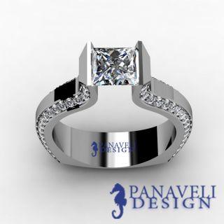 Tension Set 1 70 Ct Princess Cut Diamond Engagement Ring 14k White