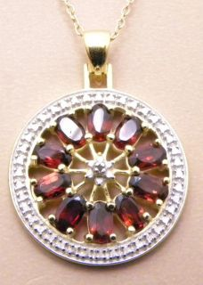 5ctw Genuine Garnet Diamond Circle Pendant Necklace