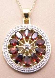 5ctw Genuine Garnet Diamond Circle Pendant Necklace