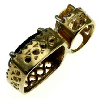 10K Yellow Gold Smokey Quartz Citrine Diamond Pendant