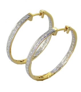 Out Side Round Cut Diamond Jewelry Yellow Gold Hoops Earrings