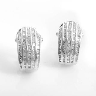 14k White Gold Half Hoop Diamond Earrings