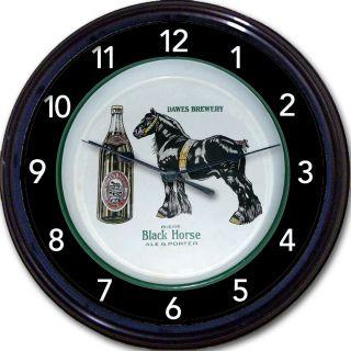 DAWES BREWERY BLACK HORSE BIERE BEER TRAY CLOCK QUEBEC, CANADA ALE