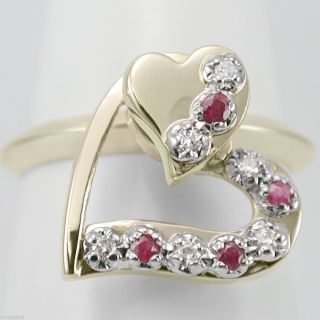 14k Diamond Ruby Twirling Heart Ring Solid Yellow Gold Ring Spin