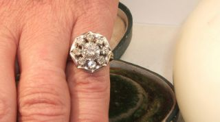 Platinum Old Cushion Cut Diamond Daisy 18ct Gold Vintage Ring