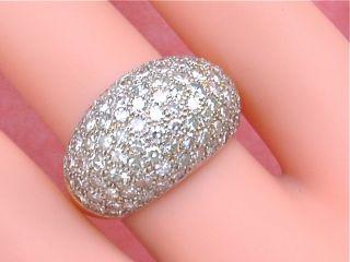 Carat Pave Diamond Dome Mound 18K Platinum Band Ring
