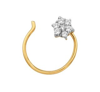 25ctw DIAMOND 14k GOLD NOSE PIN FOR WEDDING/ANNIVERSARY/PARTY