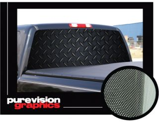 Black Diamond Plate 22 x 65 Rear Window Graphic Truck