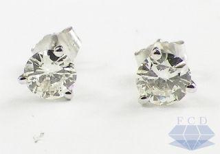 Round VS1 Diamond Stud Earrings 14k White Gold Martini Studs