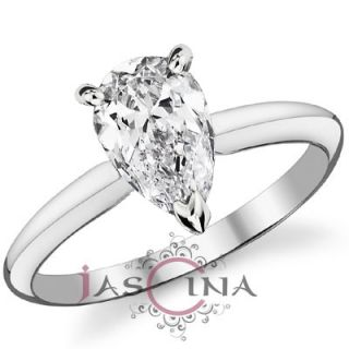 Carat Pear Shape Diamond 14k White Gold Solitaire Engagement
