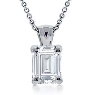50 Ct Emerald Cut Diamond Solitaire Pendant Necklace
