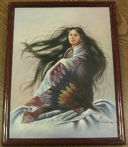 Original Signed Z Garcia Native Indian Woman Painting