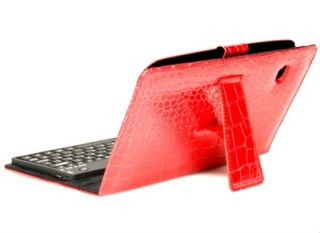 Keyboard Folding Folio Leather Case for Dell Streak 7 Red
