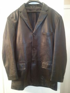 Mens black leather lambskin blazer sports coat Jacket Size 40 R
