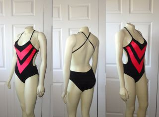 Vintage Swimsuit Marina Delmar Neon Pink Black Chevron Criss Cross Sz