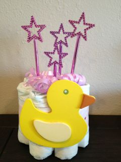 DIAPER CAKES MINI BABY SHOWER FAVORS GIFTS   PINK STARS AND DUCK BABY