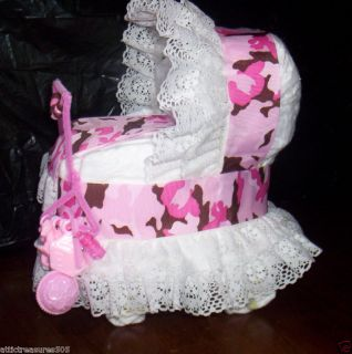 Pink Brown Camo Bassinet Diaper Cake w Mother to Be Hanger Toys
