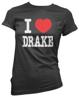 Love Heart Drake Womens Girls Ladies Black Cotton T Shirt Top New