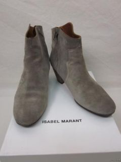 Isabel Marant Dicker Taupe Calf Suede Ankle Booties Boots Sz 40 10 w