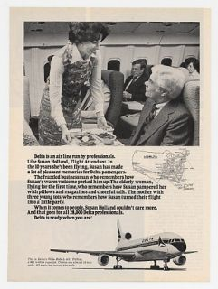 1977 Delta Airlines Flight Attendant Susan Holland Ad