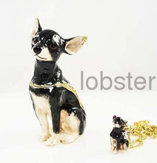 Swarovski Crystal Chihuahua Fine Trinket Box Necklace