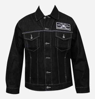 Hendricks Old School Snake Tattoo Art Artist Mens Black Denim Jacket