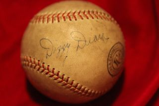 Dizzy Dean Paul Dean autographed Lowe Campbell baseball c 1935 used