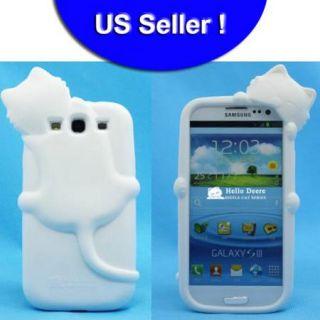 Black White Cute 3D Cat Design Silicon Back Cover Case Samsung Galaxy