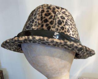 Dennis Basso Faux Fur Leopard Print Black Band Womans Fedora Hat New