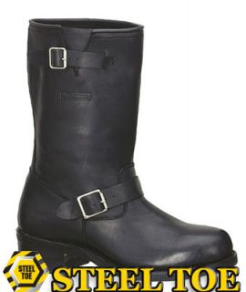 ROAD HOG © Steel Toe Engineer Classic Black Biker Boots #1441