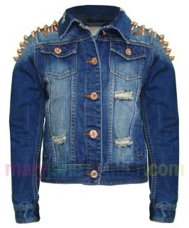 Womens Distressed / Cropped Bronze Stud Shoulder Denim Jacket