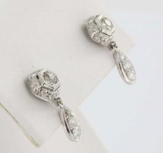 Antique Deco 14k White Gold Diamond Dangle Drop Earrings Vintage