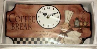 Home Decorating on Fat Chef Bistro Coffee Kitchen Clock Decor Restaurant Office New