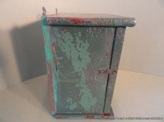 Decorative Small Shabby Chic Distressed Green Painted Wall Cabinet Box