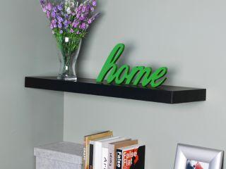 Black Floating Wall Shelf Wood Shelving Home Decor Shelves New