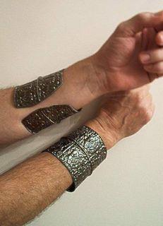 roman gladiator dark deep silver metal cuff costume accessory bracelet
