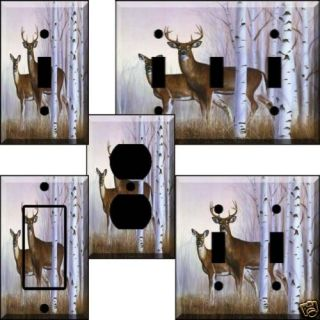 An QN White Pine Deer Light Switch Cover Wall Plate