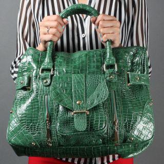 Green Croco Print Zipper Women Fashion Designer Inspired Shoulder Bag