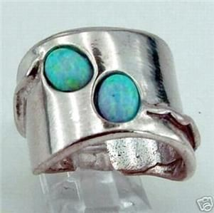 Hadar Designers Israel Handmade Unique Art Silver Opal Ring sz 7.5 (H
