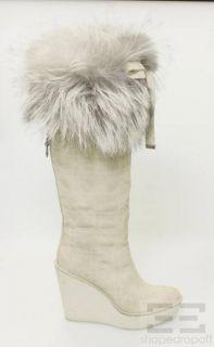 Dior Christian Dior Beige Suede Fox Fur Trim Cannage Wedge Boots Size