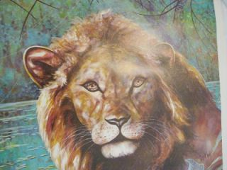 Vtg Regal Lion Dekay Litho Print 24x24 Kaplan Wall Decor Animal Art